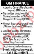 GM Finance Jobs 2019 in Karachi