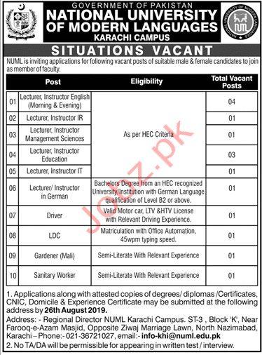 NUML University Karachi Campus Jobs 2019 for Lecturers