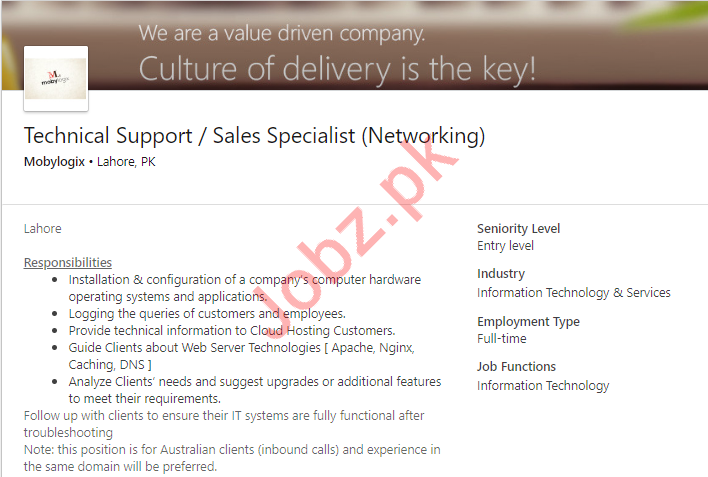 Technical Support Specialist & Sales Specialist Job 2019
