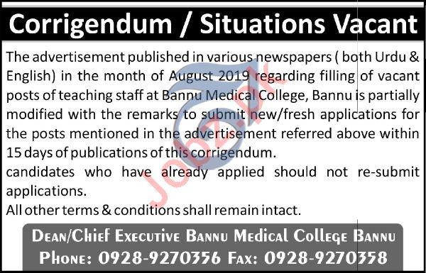 Bannu Medical College Teaching Staff Jobs 2019