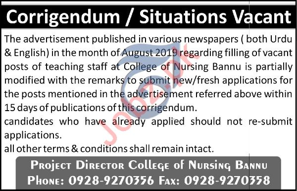 Bannu College Of Nursing Teaching Staff Jobs 2019