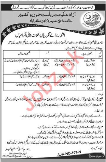 Higher Education Department Jobs in Muzaffarabad AJK
