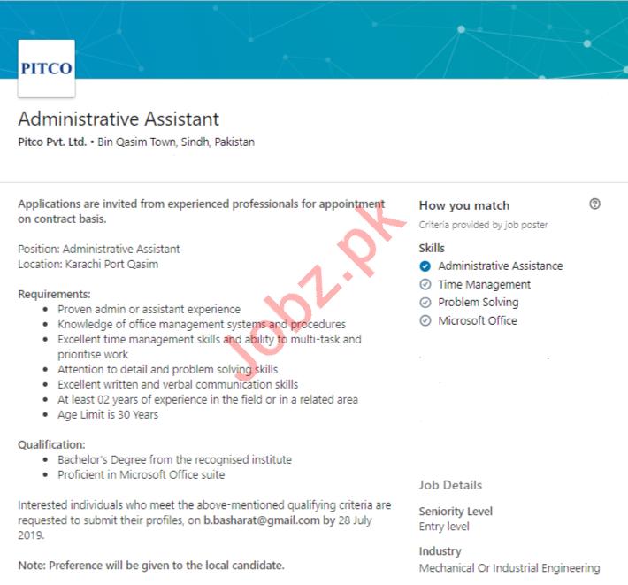 Administrative Assistant Job in Karachi