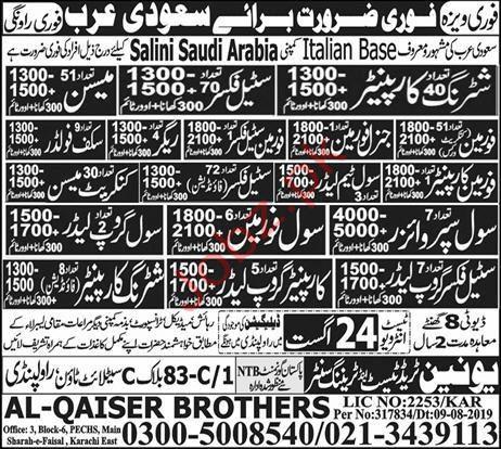 Al Qaiser Brothers Salini Saudi Arabia Jobs