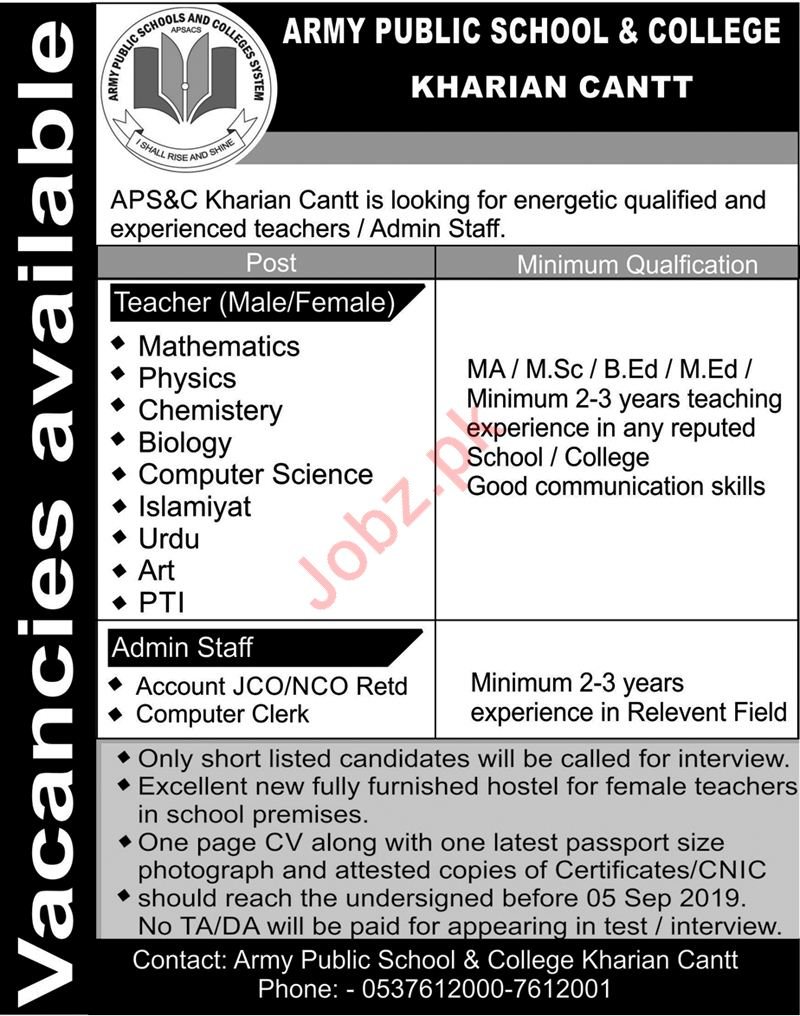 Army Public School & College Jobs in Kharian Cantt