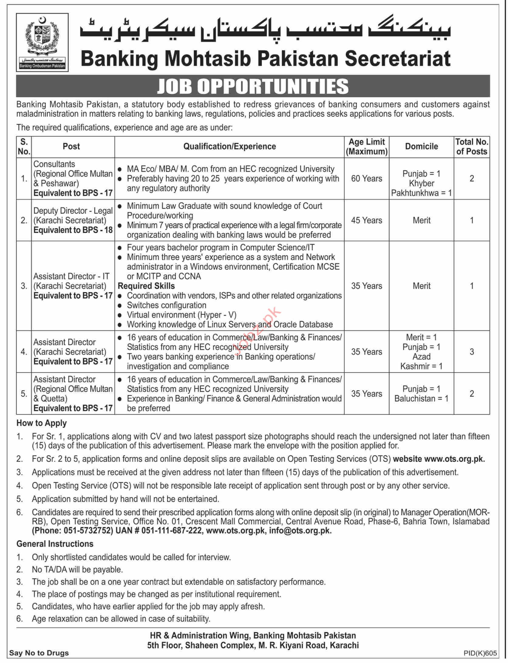 Banking Mohtasib Pakistan Secretariat Jobs