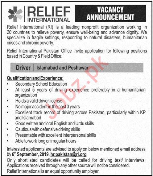 Relief International NGO Jobs in Peshawar
