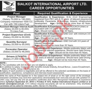 Sialkot International Airport Limited Jobs 2019
