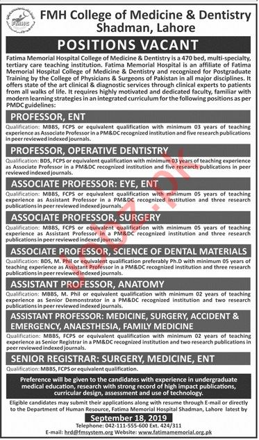 FMH College of Medicine & Dentistry Faculty Jobs 2019