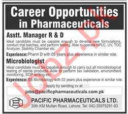 Assistant Manager & Microbiologist Jobs in Lahore