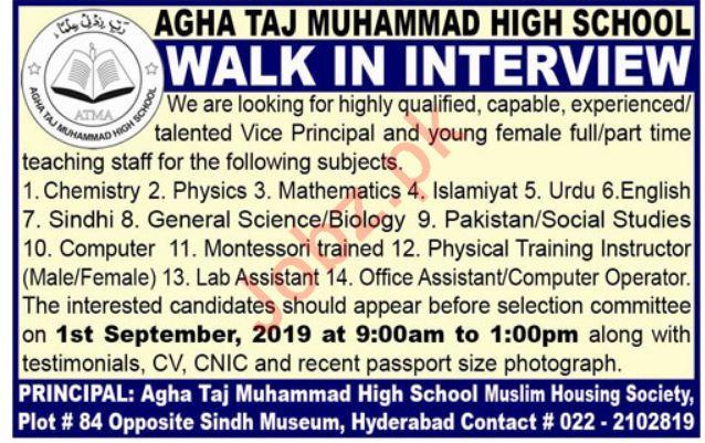 Agha Taj Muhammad High School Jobs in Hyderabad