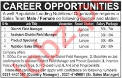 Nutritional Organization Jobs 2019 in Lahore