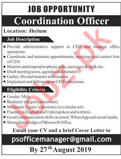 Coordinator Officer Jobs 2019 in Jhelum
