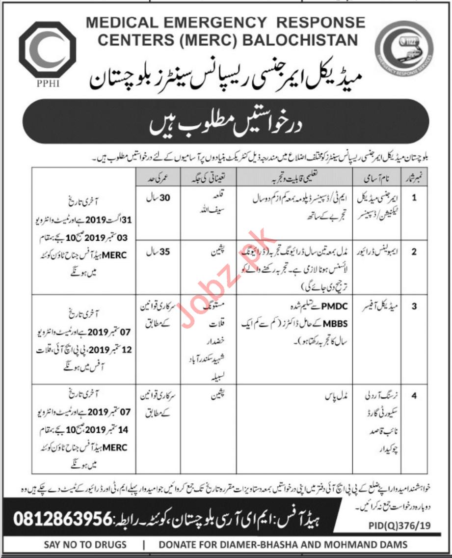 Balochistan Medical Emergency Response Centers Jobs 2019