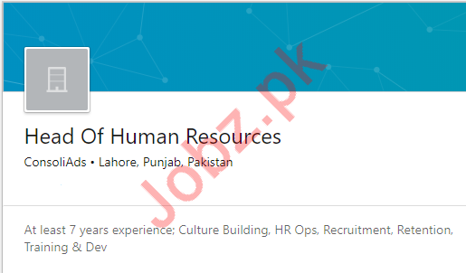 Head of Human Resources HR Job 2019 in Lahore