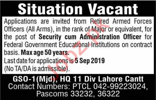 Retired Armed Forces Officers Jobs in Lahore Cantt