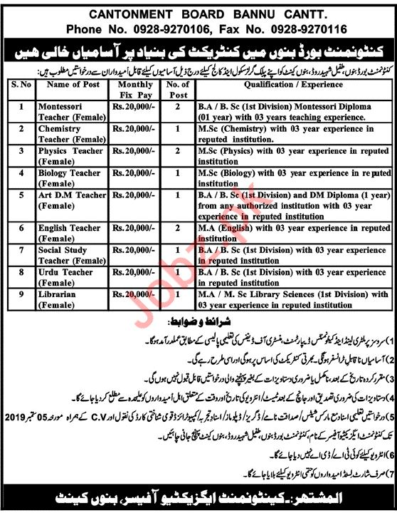 Cantonment Board Jobs 2019 in Bannu Cantt