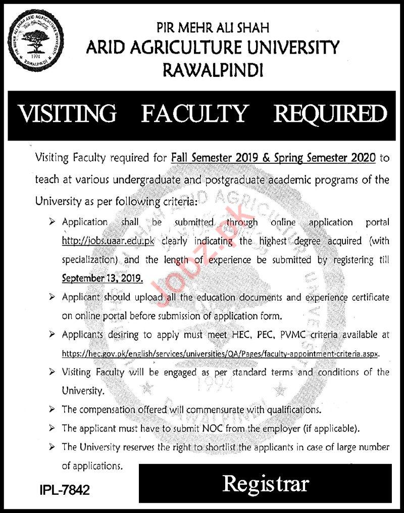 PMAS Arid Agriculture University Rawalpindi Jobs 2019
