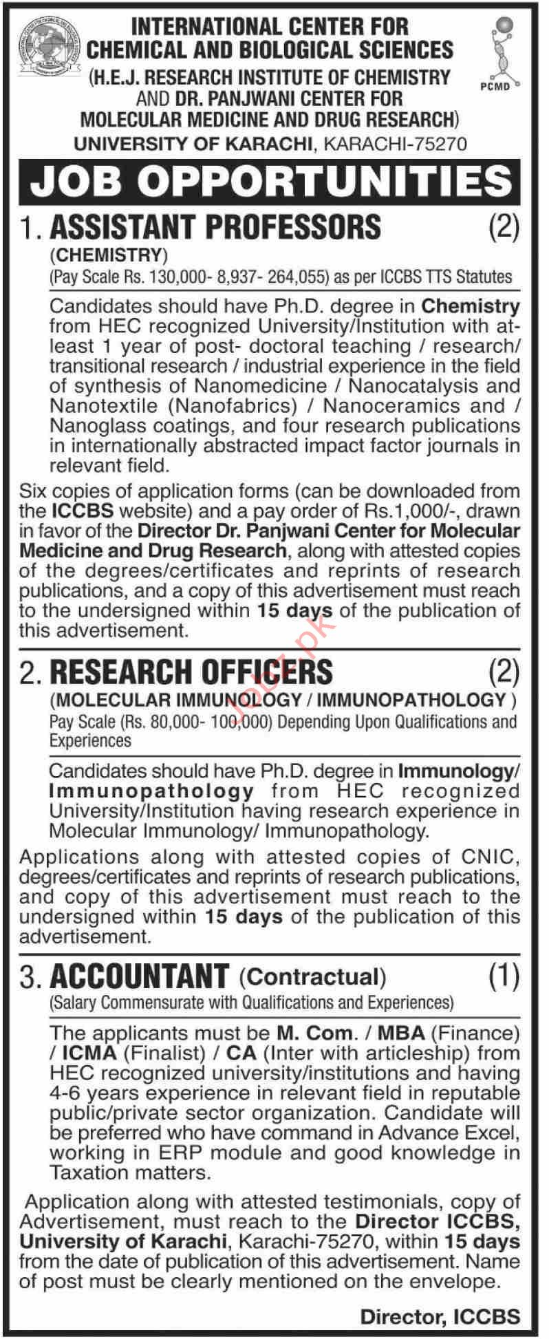 International Center For Chemical & Biological Sciences UOK