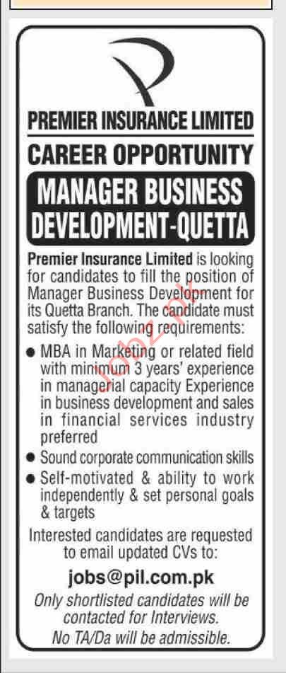 Premier Insurance Limited Jobs