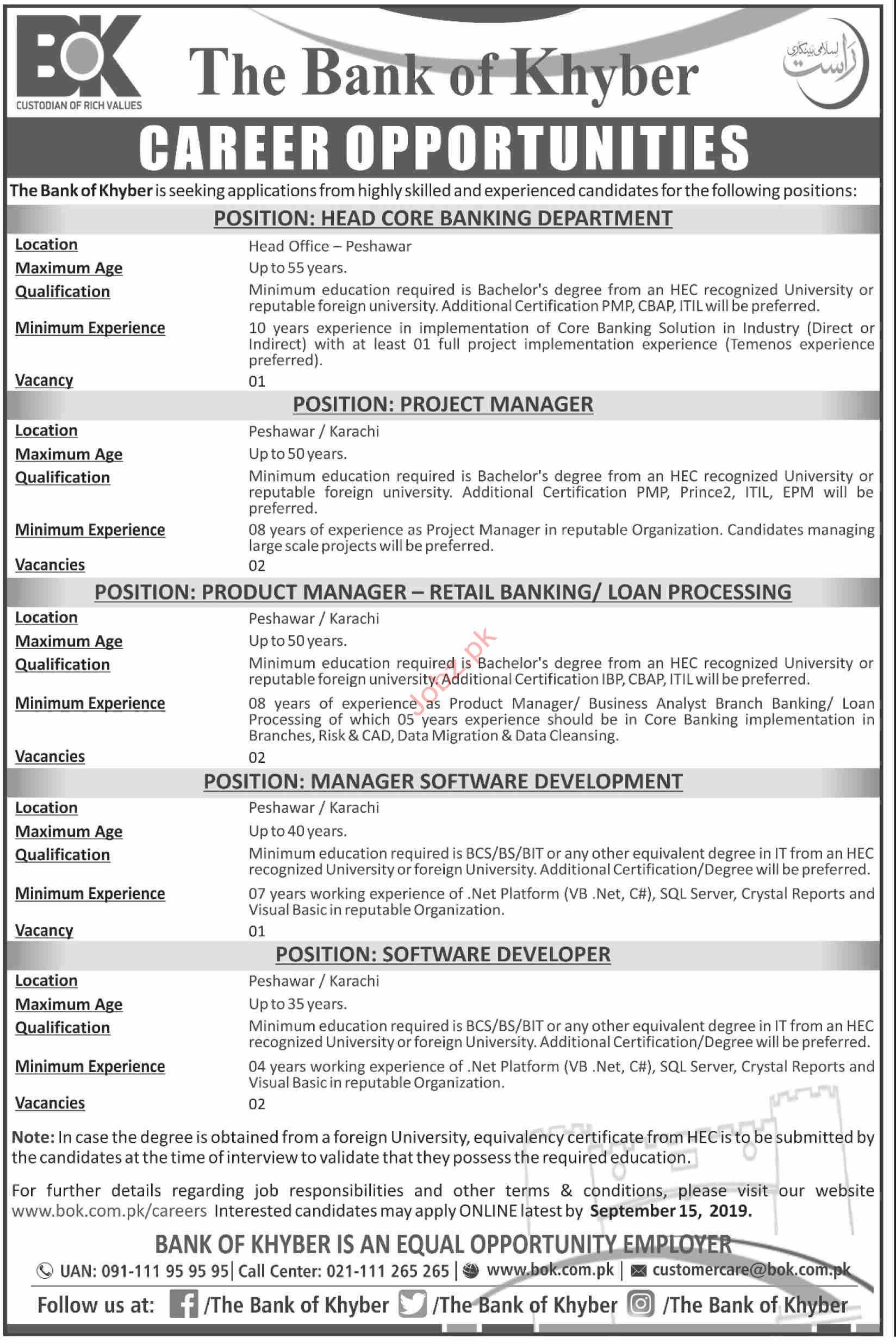 The Bank of Khyber Peshawar Jobs