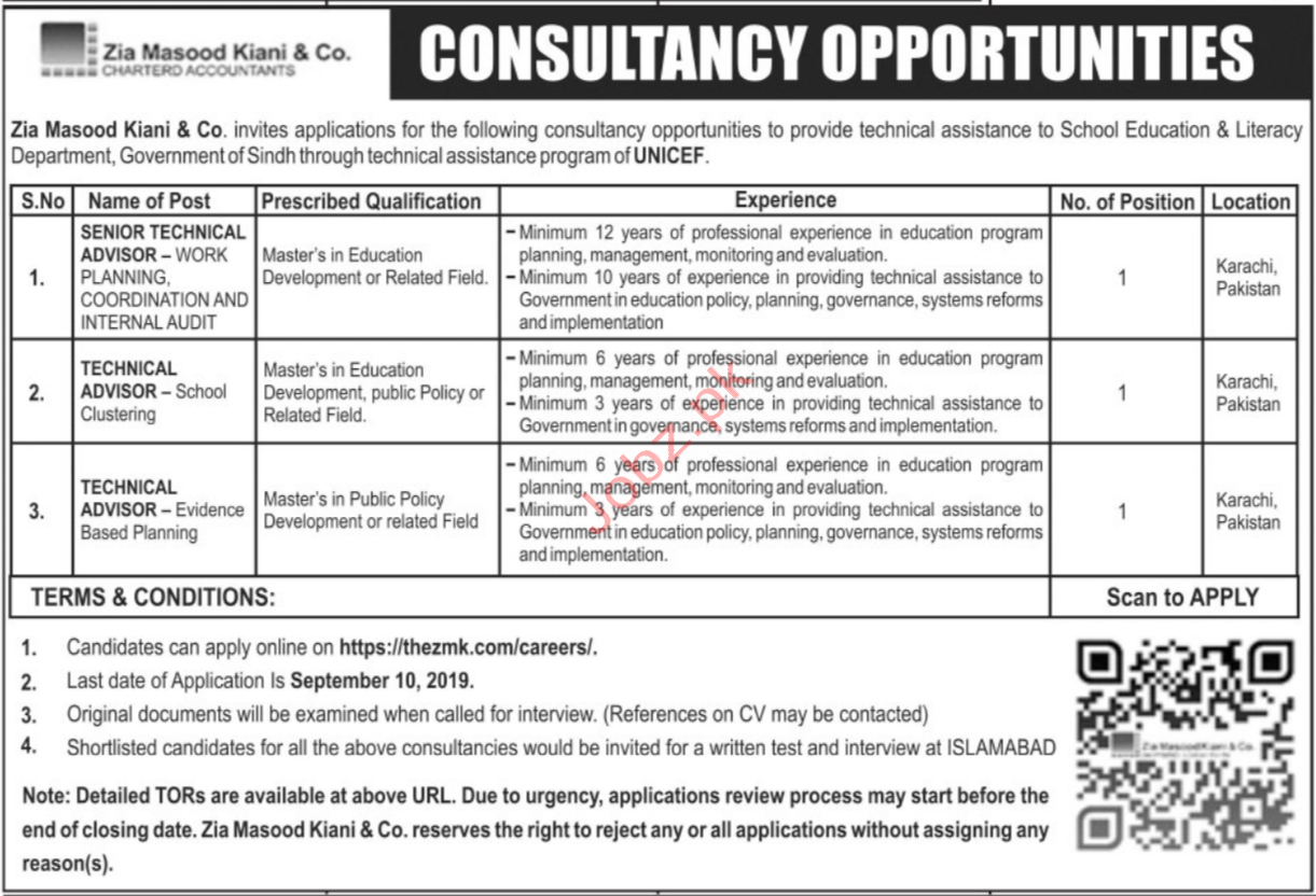 Education and Literacy Department Sindh Via UNICEF Jobs