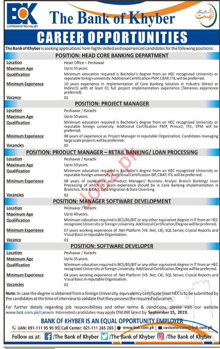 The Bank of Khyber BOK Jobs For Peshawar & Karachi