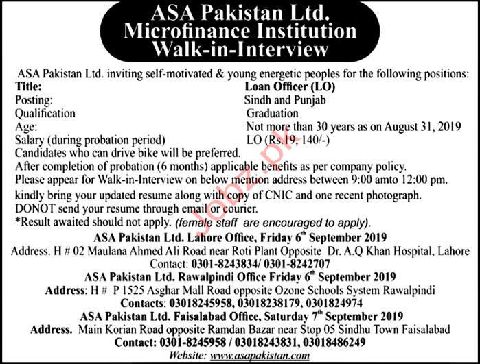 ASA Pakistan Limited Jobs