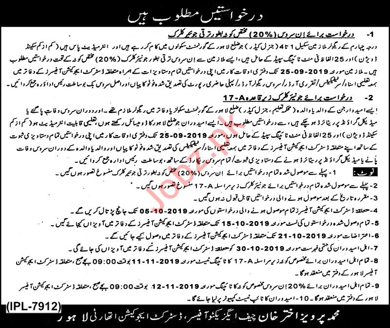 District Education Authority Jobs For Junior Clerk in Lahore