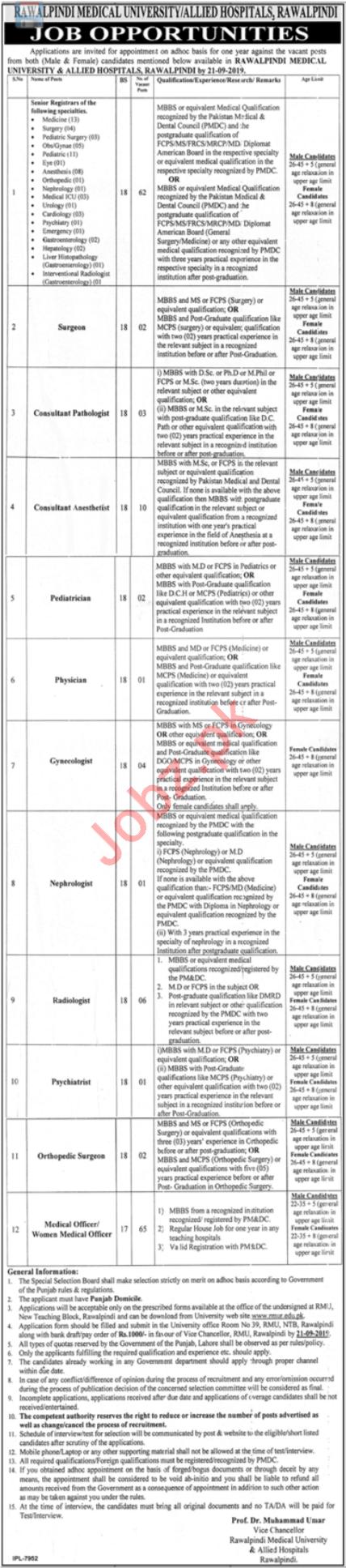 Rawalpindi Medical University & Allied Hospitals Jobs 2019