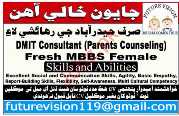 Future Vision Job 2019 For DMIT Consultant in Hyderabad