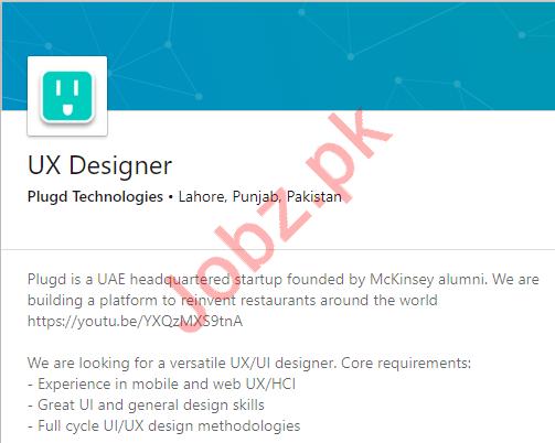 Plugd Technologies Job For UX Designer in Lahore