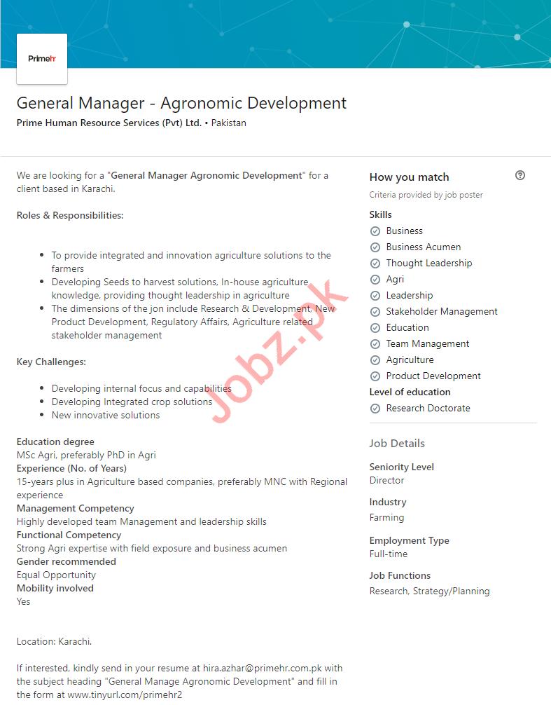 General Manager Agronomic Development Job in Karachi