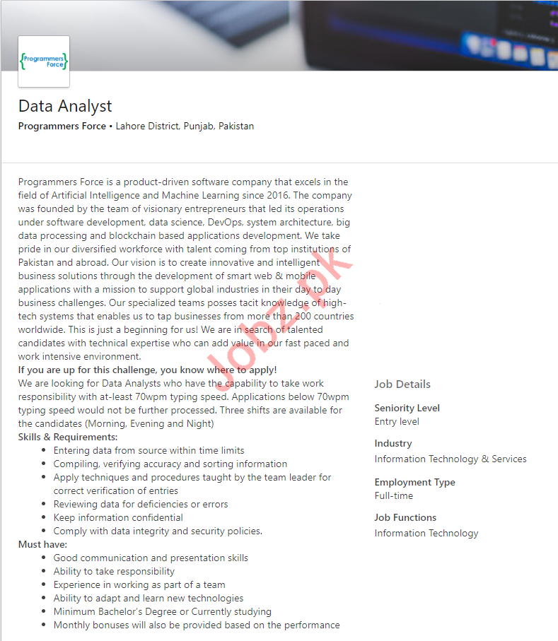 Data Analyst Job 2019 in Lahore