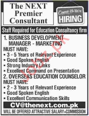The Next Premier Consultant Karachi Jobs for Managers
