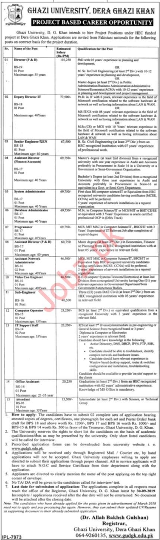 Ghazi University Jobs in DG Khan 2019