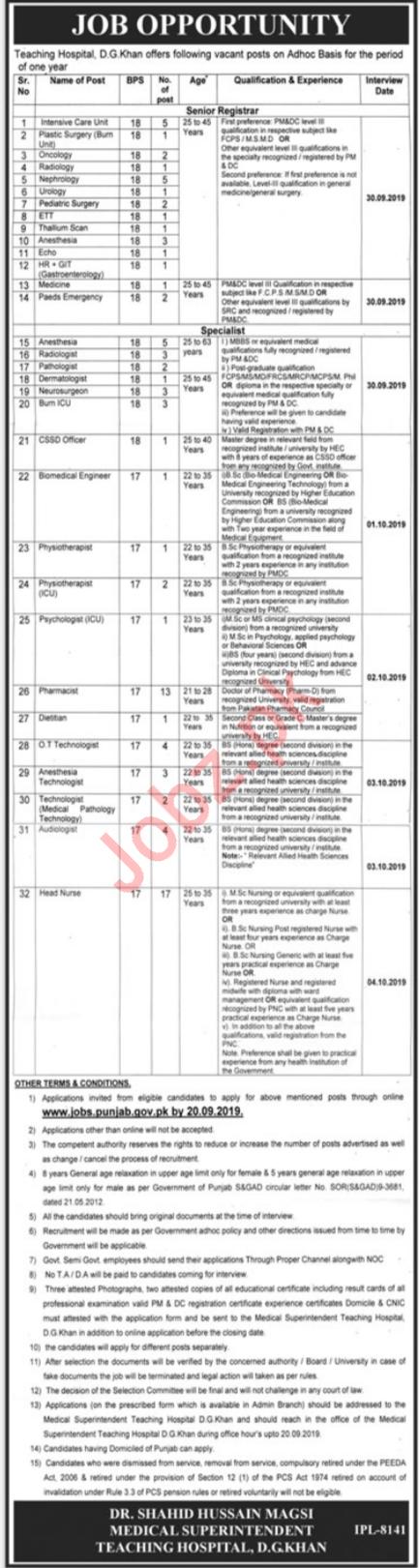 DHQ District Headquarter Hospital DG Khan Jobs 2019