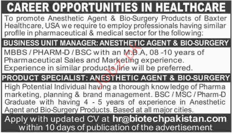 Baxter Healthcare USA Jobs in Pakistan