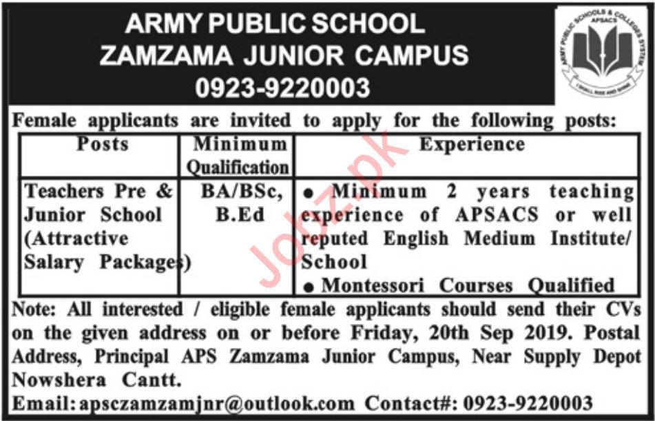 Army Public School Nowshera Cantt Jobs 2019