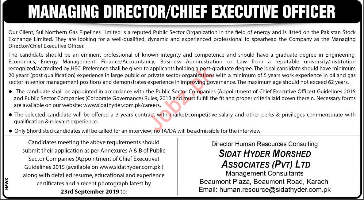 Sui Northern Gas Pipelines Limited SNGPL Jobs in Karachi