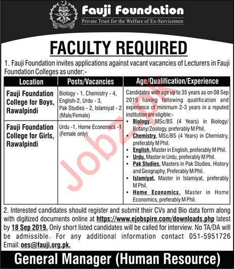 Fauji Foundation College Rawalpindi Jobs 2019