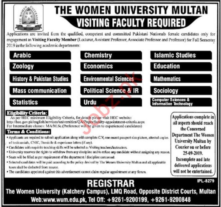 The Women University Multan Visiting Faculty Jobs 2019
