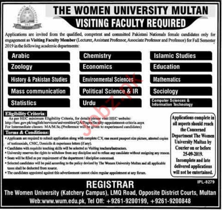 The Women University Multan Jobs For Teaching Staff