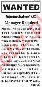 Admin Officer & Manager Jobs 2019 in Lahore