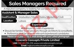 Sales Managers Jobs 2019 in Lahore