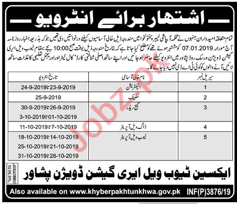 Tubewell Irrigation Division Peshawar Jobs 2019