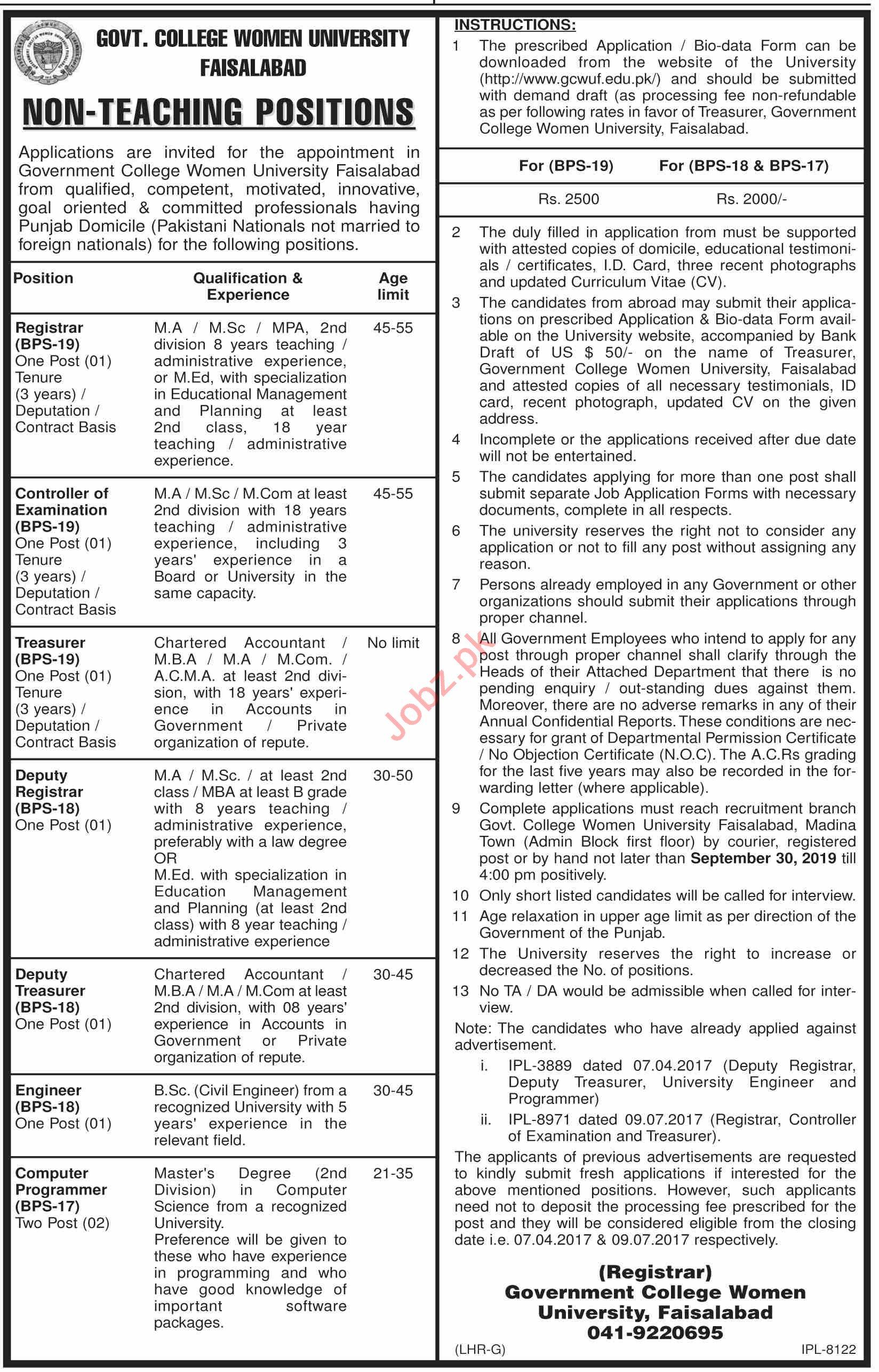 Govt College Women University Faisalabad GCWUF Jobs 2019