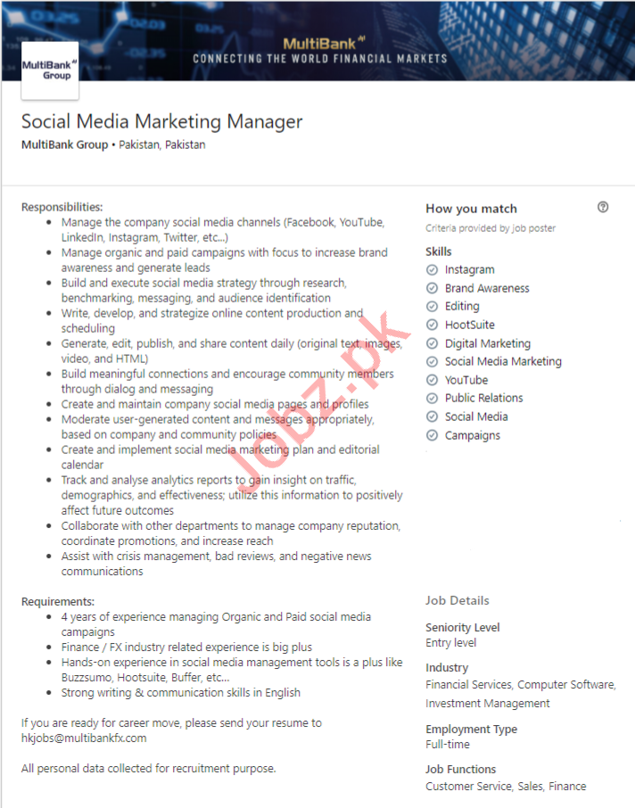 Social Media Marketing Manager Job in Islamabad