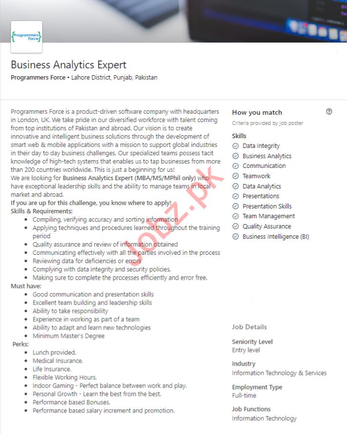 Business Analytics Expert Job in Lahore