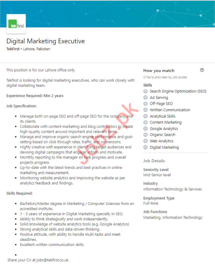 Digital Marketing Executive Job 2019 in Lahore